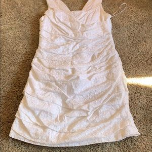 White dress with half zip back